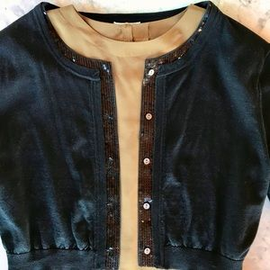 Cropped Cardigan with Sequin Detail